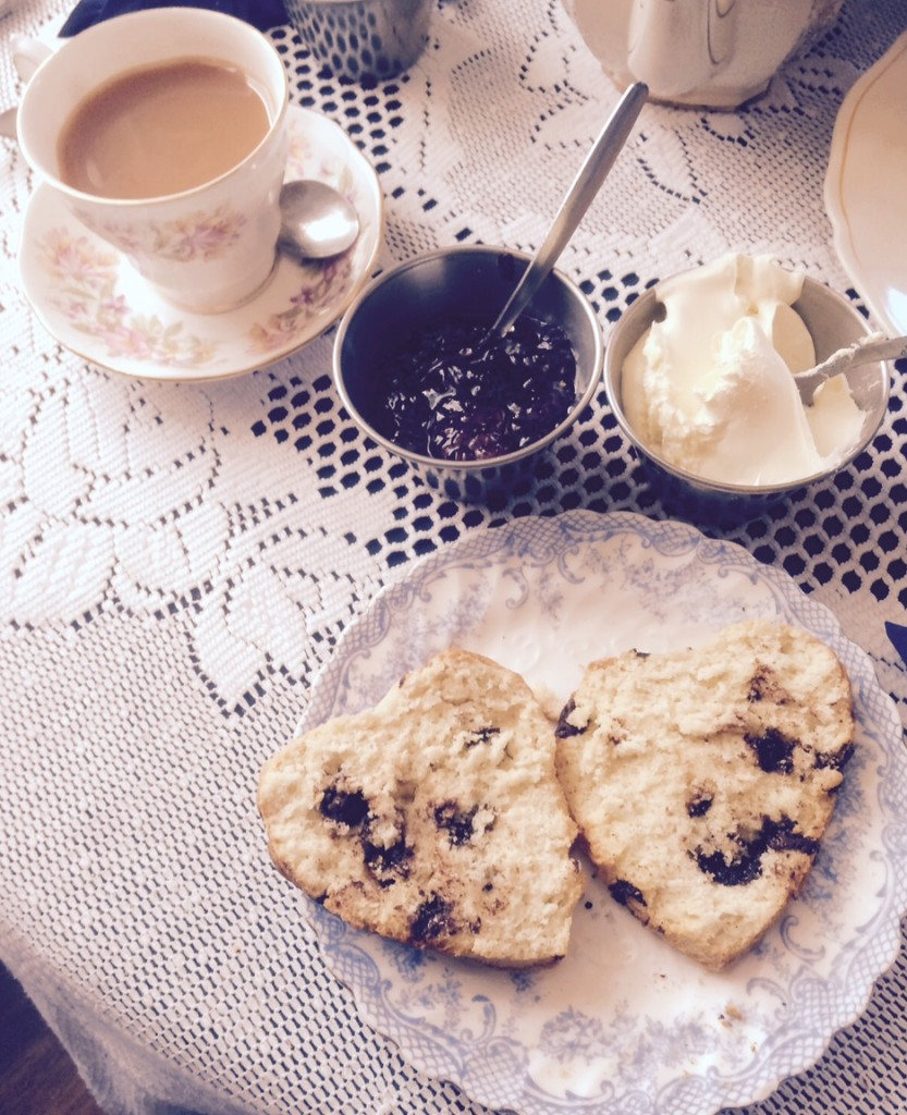 Cream, jam and a heart-shaped, chocolate chip scone! Yummy!